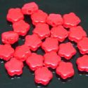 Beads, Acrylic, Pinkish red, Flower shape, 10mm x 10mm x 3mm, 11g, 50 Beads, (SLZ0036)